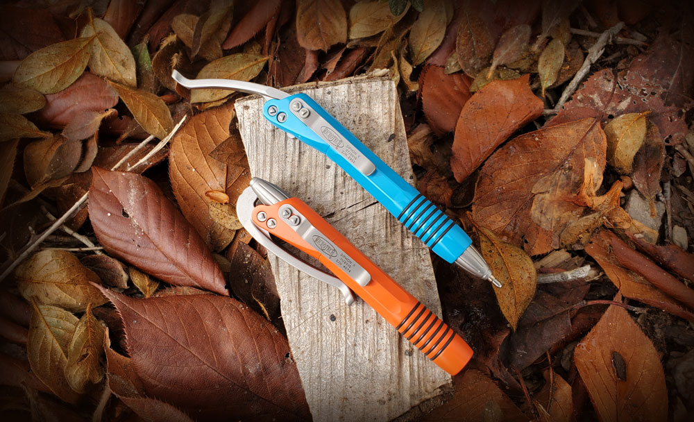 Orange and Turquoise Microtech Siphon II Pens